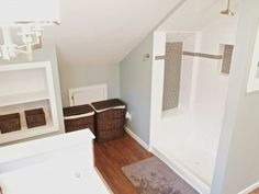 Walk-in shower under eaves. Just what I was looking for!