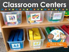 Inspiration for creating different centers in your preschool, pre-k, or kindergarten classroom (room arrangement, decor, types of centers etc)