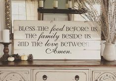 Bless the Food Before Us Distressed Wooden Decal Sign by BushelandPeckFarm on Etsy
