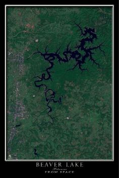 Satellite Poster Map of Beaver Lake Arkansas
