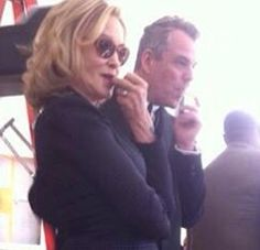 AHS: Coven - Jessica Lange and Danny Huston on the set of Coven