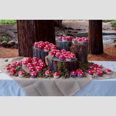 Woodland mushroom cupcake display