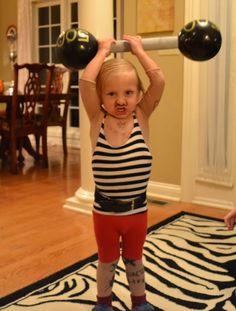 vintage circus strongman costume DIY Halloween
