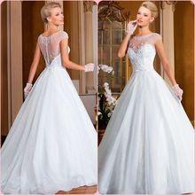 A linha de colher Sheer ilusão Sexy de Bling brilhante vestido de noiva vestido de noiva com cauda longa BXH006(China (Mainland))