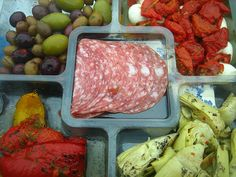 olives, roasted tomatoes, marinated artichoke hearts, roasted peppers, salami...