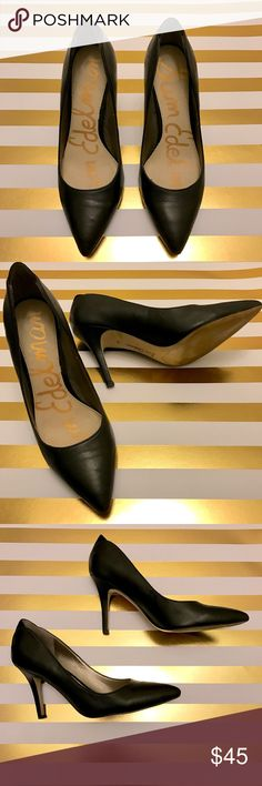 Sam Edelman Leather Pumps Size 6 1/2 These pumps are in great condition! Leather with Suede detail in the back of the shoes. A scuff on back left heel. ~ see photo~ Not noticeable message me if you have any questions. Thanks!  Sam Edelman Shoes Heels