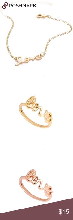 Bracelet & Ring Set New Fashion  LOVE Bracelet Rose Gold Plated & Ring 6.5 size Jewelry Bracelets