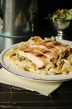 chicken and pea fettucini alfredo