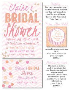 bridal shower invitations, bridal shower, engagement party, wedding shower invites, bridal shower decor, confetti, chevron, Party Box Design