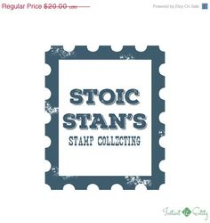 25% OFF Stamp Collector/Collecting Pre Made Logo Design   Blue   Grunge   Rust   Vintage
