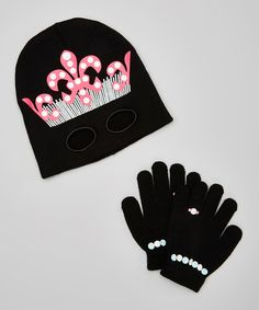 Another great find on #zulily! Pink & Black Cutout Princess Gloves & Beanie by Chatties #zulilyfinds