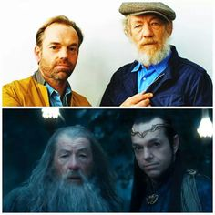 Sir Ian and Hugo Weaving Legolas And Tauriel, Gandalf, Hobbit An Unexpected Journey, Hugo Weaving, The Hobbit Movies, Ian Mckellen, Karl Urban, Lord Of The Rings, Middle Earth