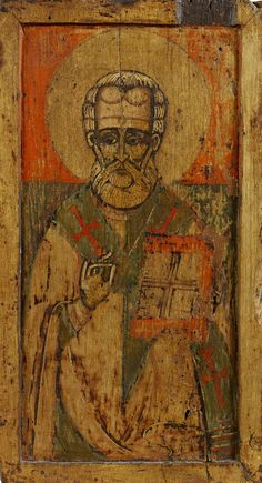 Detailed view: Saint Nicholas- exhibited at the Temple Gallery, specialists in Russian icons Byzantine Icons, Byzantine Art, Religious Icons, Religious Art, Primitive Crafts, Primitive Christmas, Country Christmas, Christmas Christmas, Christmas Icons