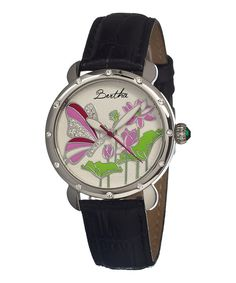 Take a look at this Silver & Black Stella Leather-Strap Watch on zulily today!