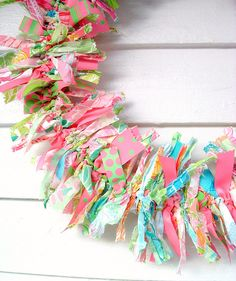 rag wreath, preppy pink and green