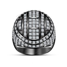 10K Black Gold Round D/Clear Diamond Mens XL Wedding Engagement Pinky Band Ring #Beijojewel #MensBandRing #WeddingRingEngagementRingDailyWear
