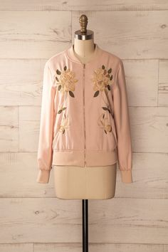 Fanore - Pink embroidered zip-up jacket
