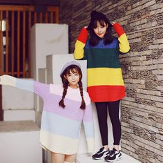 Korean students colorful pullover