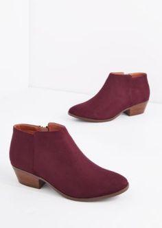 Burgundy Mock Suede Stacked Heel Bootie | rue21