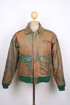 O. M. G.   THAT DISTRESSING!!!!  Vintage AVIREX A-2 LTD EDITION Leather Flight Pilot Jacket XSmall