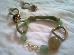 Pulsera y Zarcillos de Cuero, piedra de Agata y Jade