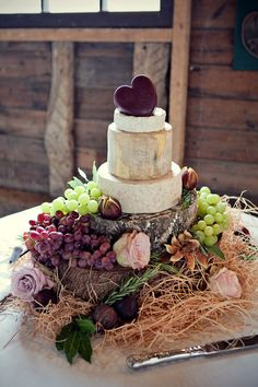 what an idea! cheese representing a traditional wedding cake; that way one cake have cupcakes too! I guess you can have your cake and eat it. Maybe a wine & cheese style wedding ? Wedding Cake Stands, Wedding Cakes, Rustic Wedding, Our Wedding, Wedding Reception, Dream Wedding, Wedding Pins, Perfect Wedding, Wedding Events