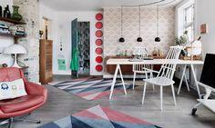 Оформляя свою квартиру в Копенгагене, дизайнер Метте Хагедорн задействовала белый цвет и разнообразие геометрических орнаментов.