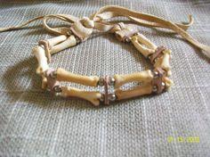 Handmade 2 Strand Real - Coyote Bone Bracelet with Nickel Beads- Native American