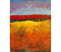 Contemporary Acrylic Hillscape Painting, Reds and Yellows, Abstract Design, Fine Art Print reproduction, 10 x 8 on Etsy, $22.00