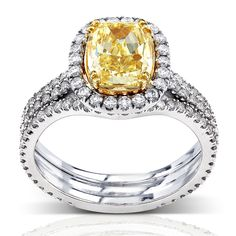 Annello 18k Gold 3ct TDW Fancy Yellow Diamond Ring | Overstock™ Shopping - Top Rated Annello Bridal Sets