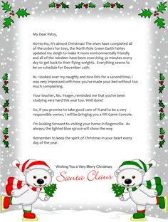 free santa letter holiday christmas - Christmas Letters From Santa