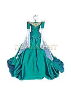 Green Fancy Off-the-Shoulder Medieval Victorian Dress