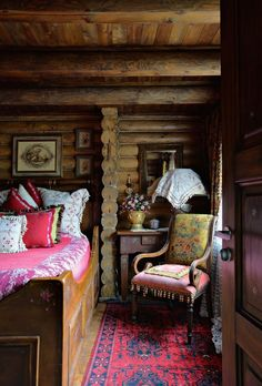 Chalet room at Old House Hotel - Rostov-on-Don, Rostov, Russia Log Cabin Homes, Log Cabins, Rustic Cabins, Cabin Interiors, Cabins And Cottages, Cozy Cabin, Cabin Chic, My New Room, Sweet Home