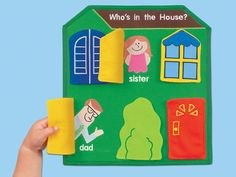 Who's in the House? Peekaboo Board at Lakeshore Learning Krishna Birth, Print Awareness, Fabric Board, Lakeshore Learning, Busy Board, Library Programs, Library Displays, Sewing Toys, In Kindergarten
