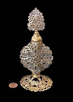 Vintage MATSON Style Built GOLD Filigree PERFUME Bottle Circa 1940's Era