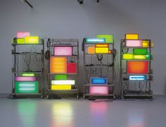 David Batchelor  Brick Lane Remix - 2003  Steel shelving units, found lightboxes, acrylic sheet, vinyl, fluorescent light, plugboards, cable  Dimensions variable