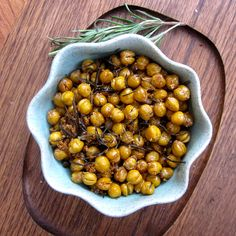 Spiced Bar Chickpeas. An addictive variation on bar nuts with fresh rosemary, coconut butter and natural brown sugar
