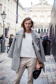 love a great gray, structured coat and neutral everything. very clean.