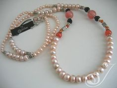 Deco Mixed Pink Pearl Long Necklace Facetted French Jet, Salmon Pink Jade, Chunky Tudor Sterling Silver Spacers, Fob and Chain – A really elegant yet sweet design with a Deco feel to it. Long Pearl Necklaces, Pearl Jewelry, Bridal Jewelry, Gemstone Jewelry, Quartz Necklace, Stone Necklace, On Your Wedding Day, Pearl White, Jewelry Design