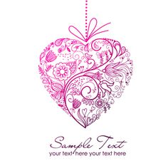 Set of Floral Heart elements vector 01