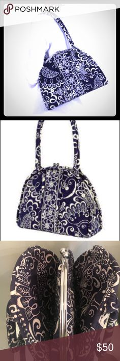Vera Bradley ELOISE KISS-LOCK LARGE 3 comp bag-NEW A Beautiful, sold out, retired vera Bradley bag is absolutely amazing! If you love your bag functional sassy roomy & of course versatile than this one is for you! It has three compartments 2 outer large open compartments one with 2 slip pockets for Multi functional needs. It has a large kiss flock dome frame for the inner compartment that has four slip pockets & one zip pocket,  tons of room! Navy blue, white & silver! NWOT/like new…