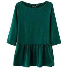 Pure Color Pleated Round Neckline T-shirt