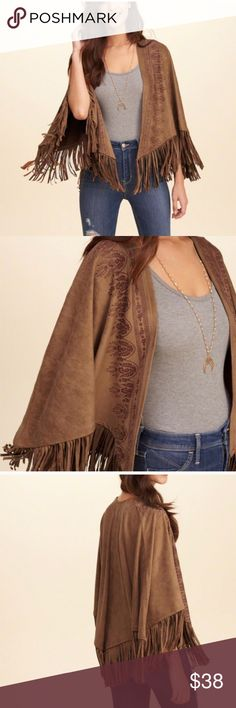 HOLLISTER VEGAN SUEDE FRINGE PONCHO Beautiful and stylish! NWT! 91% polyester, 9% elastase, Size: XS/S, Color: brown. No trades, offers welcome. 0172224240 Hollister Jackets & Coats Capes