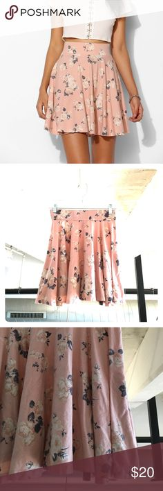 Pins and Needles Pink Floral Skater Skirt Worn only three times. This pink skater skirt is perfect for the spring and summer! Urban Outfitters Skirts Circle & Skater