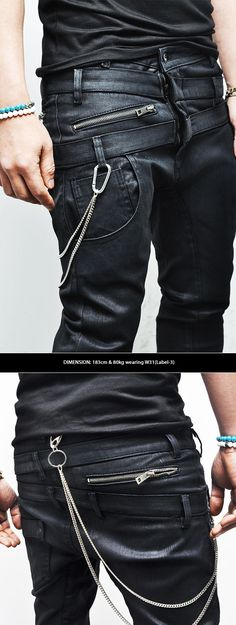 Bottoms :: Jeans :: Wax Coated Double Crotch Baggy Skinny-Jeans 175 - Mens Fashion Clothing For An Attractive Guy Look