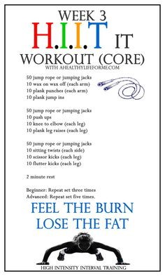 HIIT Workout Week 3 CORE - A Healthy Life For Me