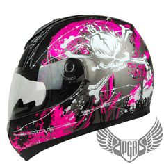 L XL or XXL Matte Black Magenta Pink Skull PEAK Full Face Motorcycle DOT Helmet | eBay