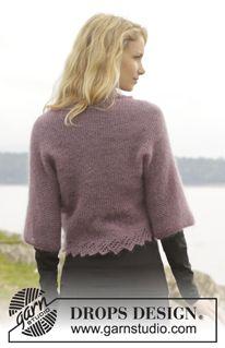 "Knitted DROPS bolero in garter st with lace edge in ""Kid-Silk"". Size S-XXXL. ~ DROPS Design"