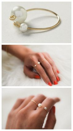 DIY Antrhopologie Inpsired Wire Delicate Double Pearl Ring Tutorial from Swellmayde.For Swellmayde's single pearl ring go here.Top Photo: $38 Antrhopologie Pearl Finale Ring here, All Other Photos: DIY by Swellmayde.For more delicate jewelry DIYs or all kinds go here:truebluemeandyou.tumblr.com/tagged/delicate