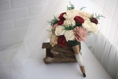 """This elegant bouquet is named after the rich color of a fine Marsala wine featuring a mixture of approx 50 Sola Wood forever flowers. It measures 16"""" tall with green accents and a beautifully elegant handheld wrap of twine and lace. Colors: White, Nude, Dusty Rose, Burgundy, Brown, Ivory, Green  Wedding items cannot be customized. Please read ourFAQS page for more information and expected production time."""